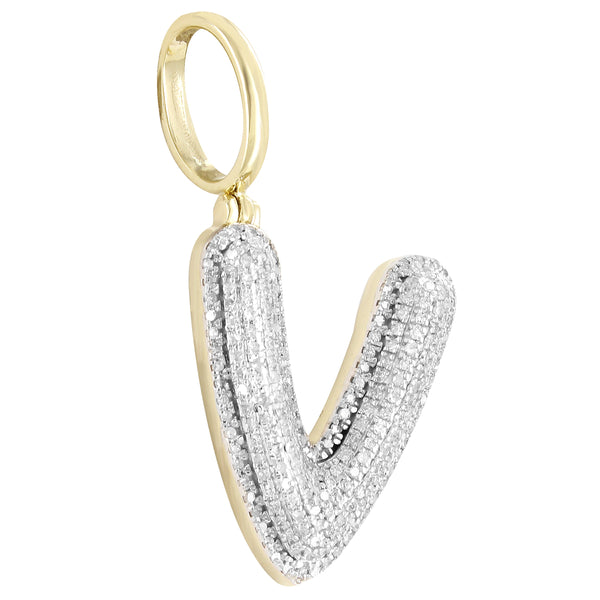 10k Gold Real Diamonds A-Z Micro Pave Initial Pendants