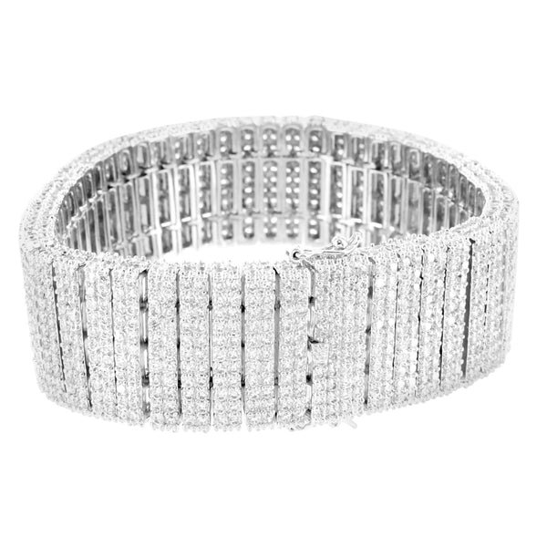 White Gold Finish Mens 24 MM 2 Row Lab Diamond Bracelet
