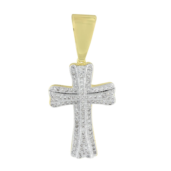 Gold Cross Pendant 14K Finish Lab Diamonds Men Womens