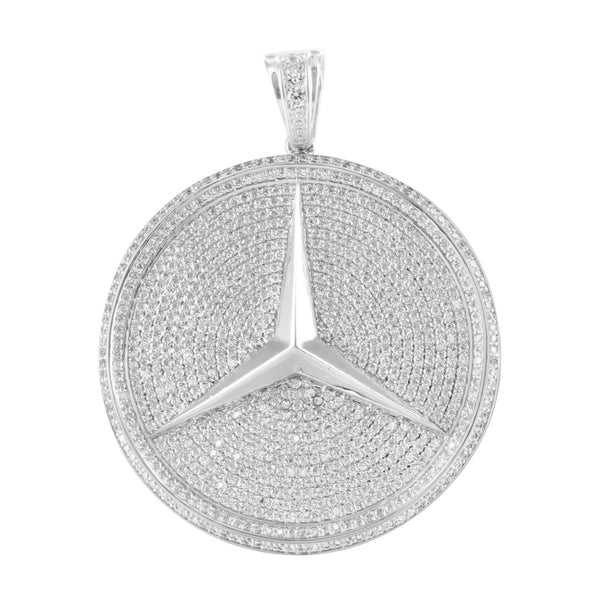 Lab Diamond Car Logo Round White Gold Finish Pendant