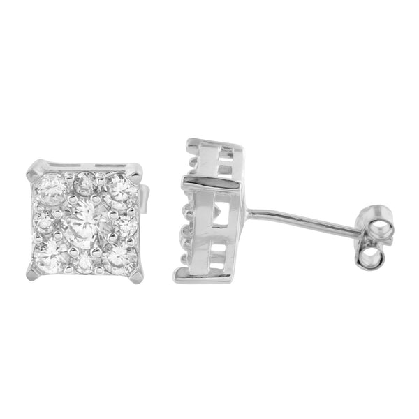 Sterling Silver Square Earrings White Gold Finish Cluster Lab Diamond