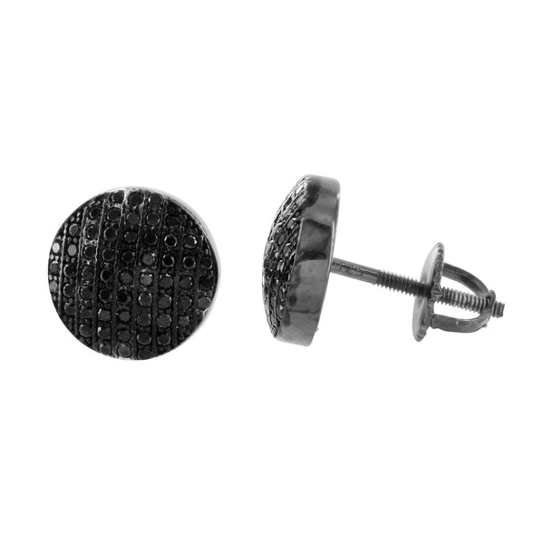 Black Finish Round Earrings 925 Sterling Silver Black Lab Diamond