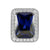 White Gold Tone Sapphire Gemstone Emerald Cut CZ 925 Silver Ring