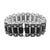 Black Simulated Diamonds Bracelet White Rhodium Finish Bar Link