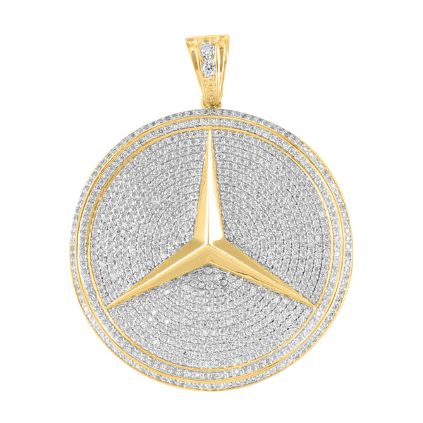Pendant Luxury Car Logo 14K Gold Finish Lab Diamond 2.5