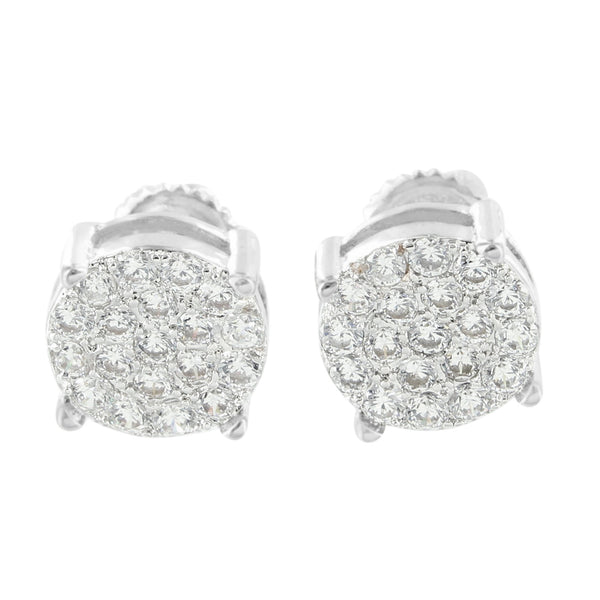 Cluster Set Round Earrings Screw Back Rhodium Finish