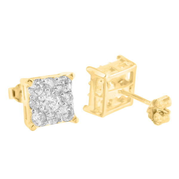 925 Silver Square Earrings 14K Yellow Gold Finish Lab Diamond