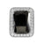 Black Onyx Solitaire Gemstone CZ White Gold Finish Sterling Silver Ring