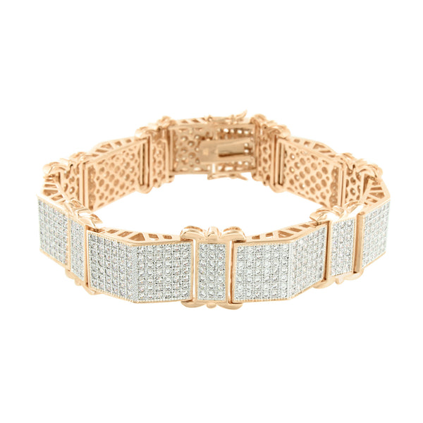 Rose Gold Finish Bracelet Mens Pyramid Link Design Lab Diamonds