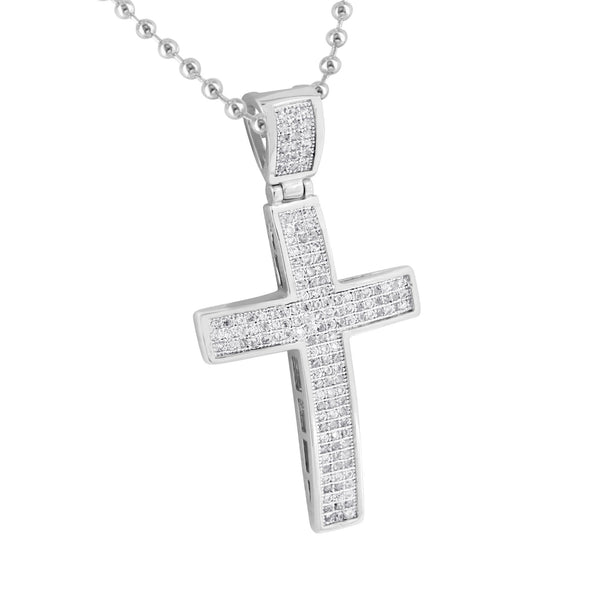 Stainless Steel Bead Chain Cross Pendant Charm Lab Diamonds