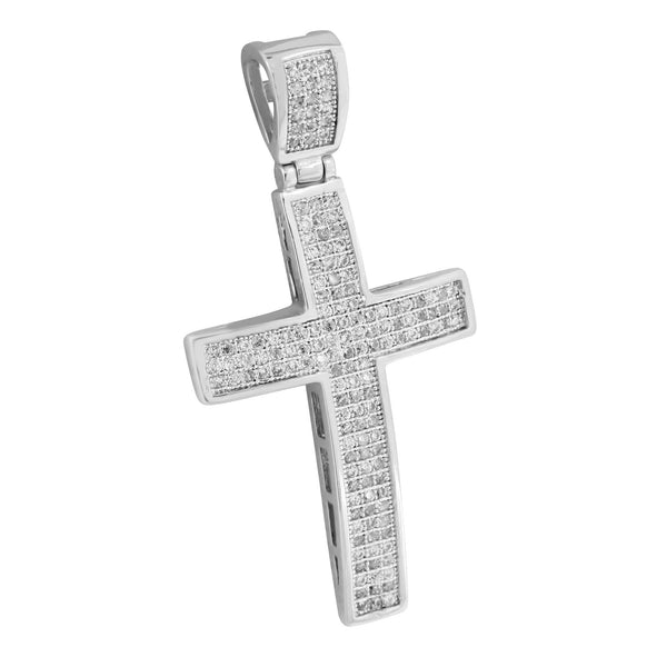 Cross Pendant Mens White Rhodium Finish Charm