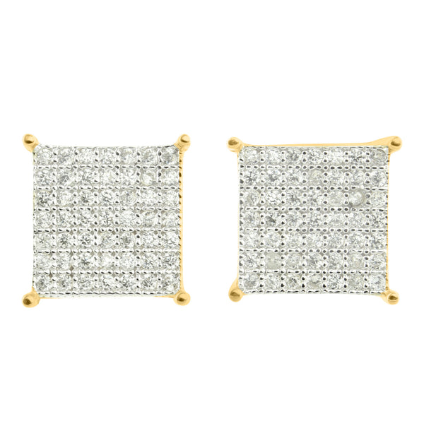 Sterling Silver Earrings Lab Diamond 11 MM Square Gold Finish