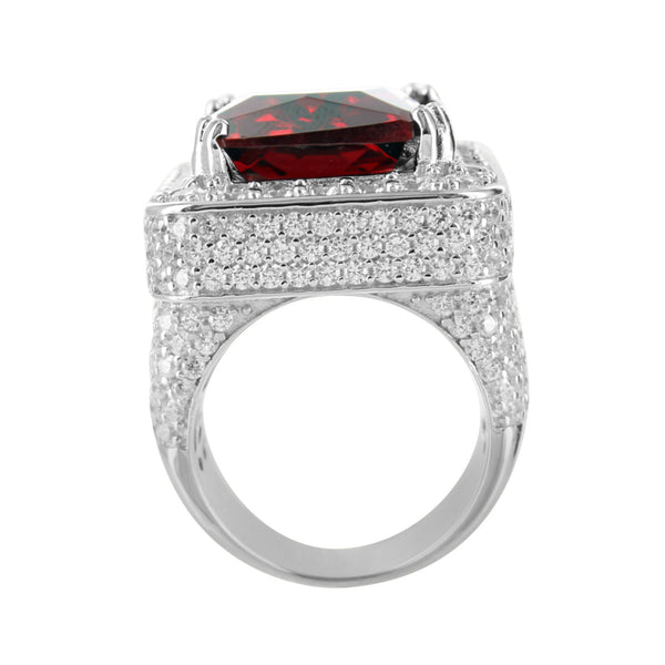 White Gold Tone Sterling Silver Burmese Solitaire Lab Diamonds Ruby Ring
