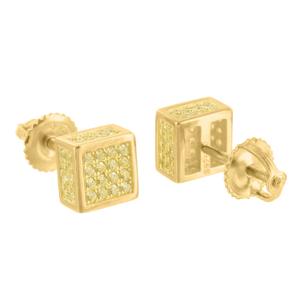 Square Cube Earrings Yellow Lab Diamond