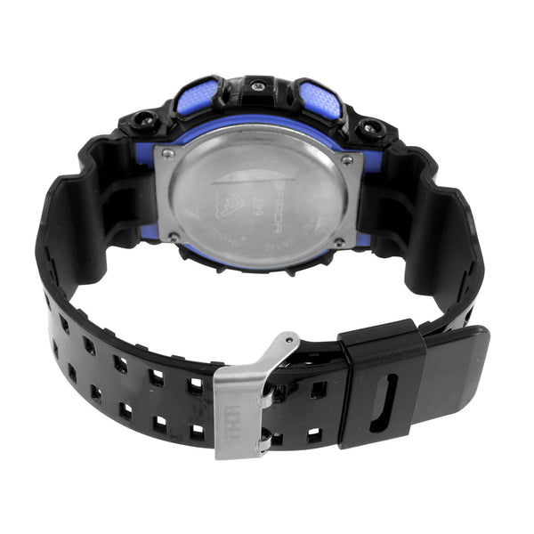 Black And Blue Watch Round Unique Digital Analog Silicone Band