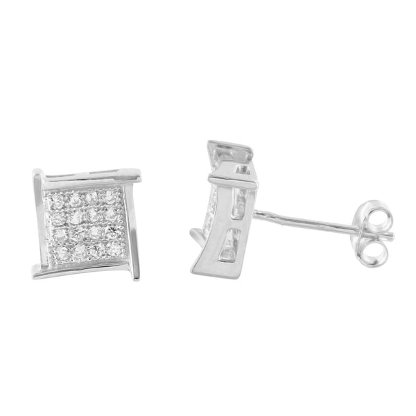 925 Silver 8 MM Lab Diamond Square White Gold Finish Earrings