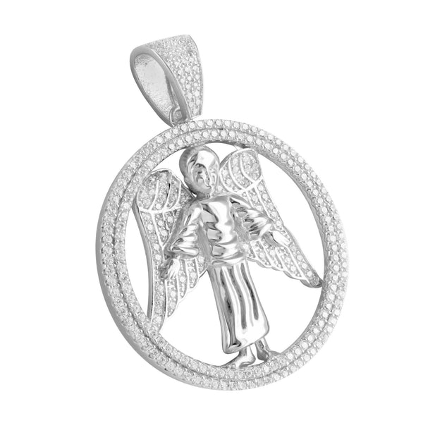 Sterling Silver Hollow Ring Angel Pendant White Gold Finish Lab Diamond