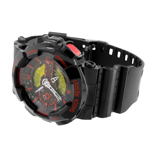 Mens Shock Resistant Watch Black & Red Digital-Analog
