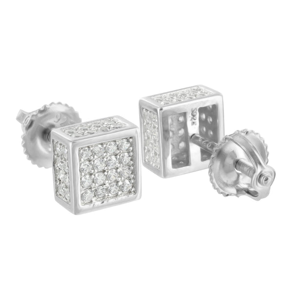 925 Silver Square Earrings Mens Womens White Finish
