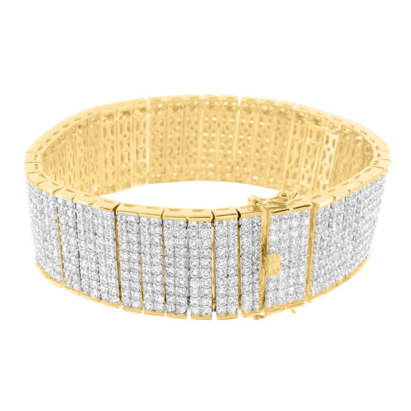 Mens 14k Yellow Gold Finish 8.5 Inch Lab Diamond Bracelet