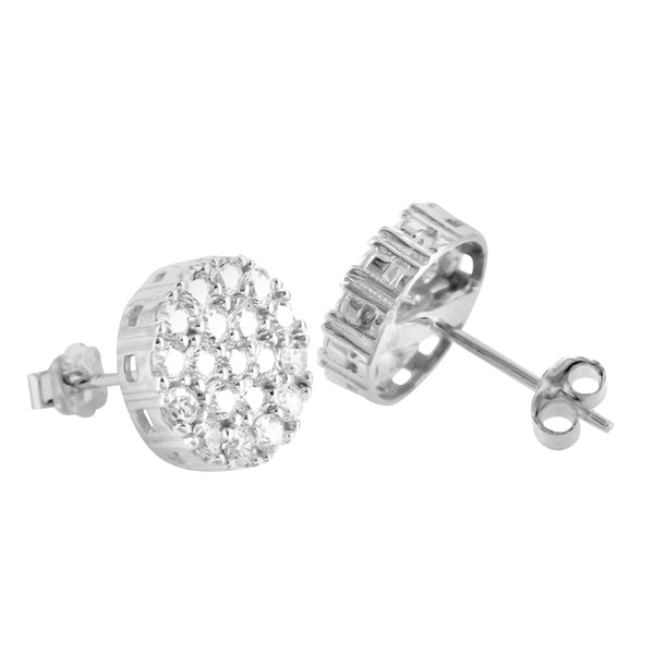 Cluster Lab Diamond 14K White Gold Finish 925 Silver Earrings