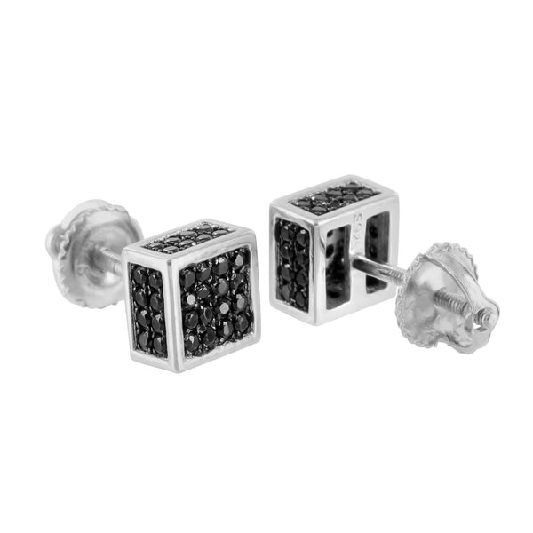 Black Lab Diamond Earrings White Gold Finish Cube Earrings