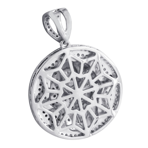 Egyptian Pharaoh Round Pendant 14K White Gold Finish With Chain