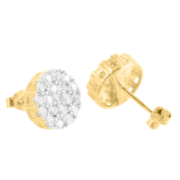 14K Yellow Gold Finish Cluster Prong Lab Diamond 925 Silver Earrings