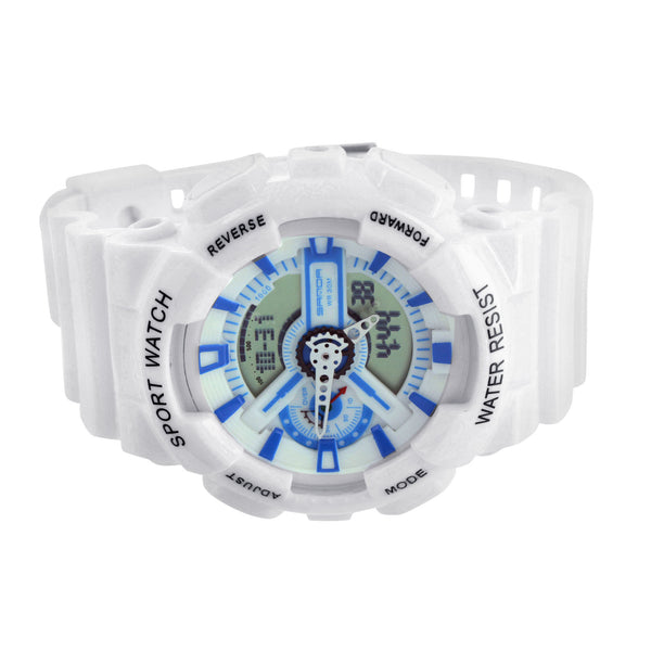 White Blue Sports Mens Watch Digital-Analog Spots Edition Sale