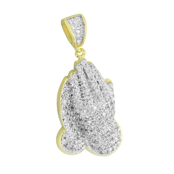 Religious Praying Hands Pendant Iced Out Simulated Diamond Prong