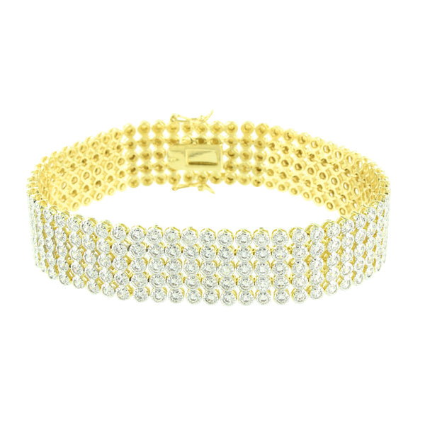 Round Cut Design Bracelet 14K Yellow Gold Finish