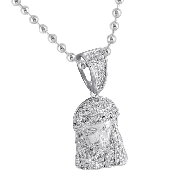 Mini Jesus Pendant Mens Womens Simulated Diamonds Bead Chain