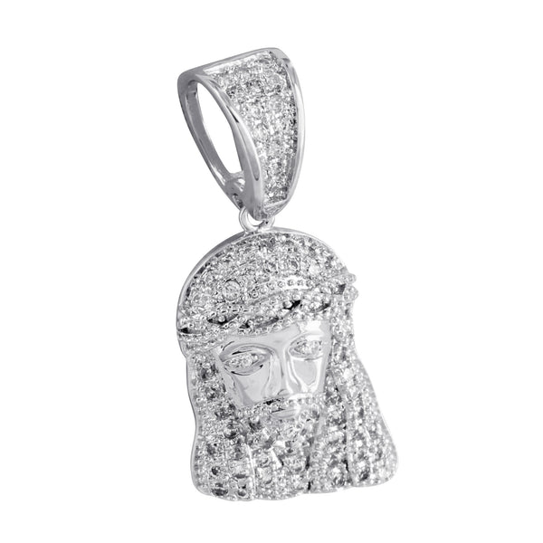 Mini Jesus Face Pendant Charm Christ Lab Diamonds White Rhodium