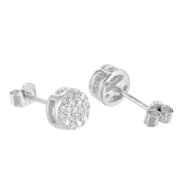 Round Cluster Simulated Diamond Sterling Silver Earring