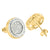 Round Shape Yellow Gold Finish 925 Silver Lab Diamond Earrings