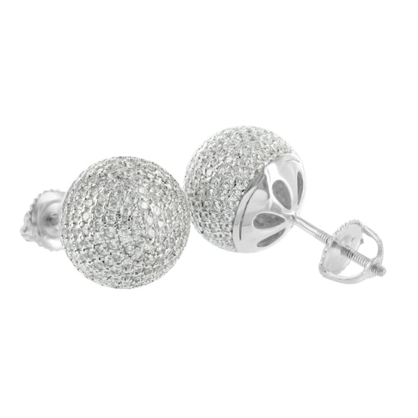 Round Ball Earrings White Gold Finish