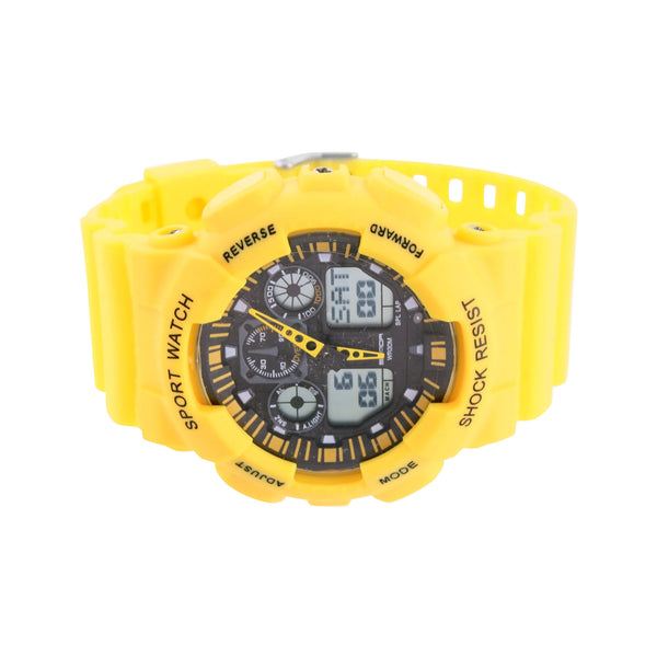 Yellow Sport Watch Digital Analog Day Date Display Timer Silicone