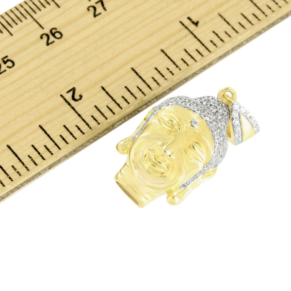 Buddha Head Pendant 14K Yellow Gold Finish