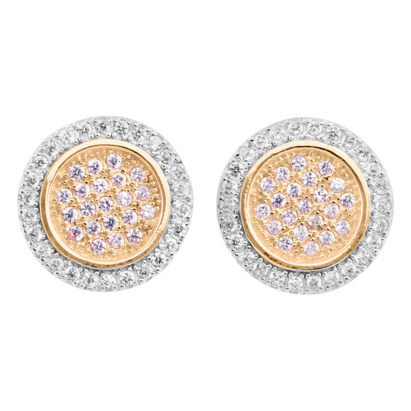 Round Rose White Finish 2 Tone Silver Lab Diamond Earrings