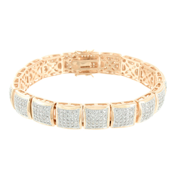 Lab Diamonds Bracelet Mens 14K Rose Gold Finish Designer Micro Pave