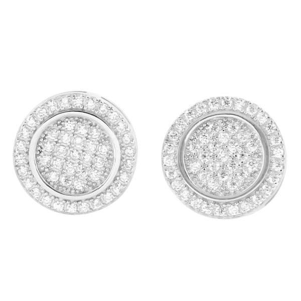 Designer Round Lab Diamonds Sterling Silver Earrings