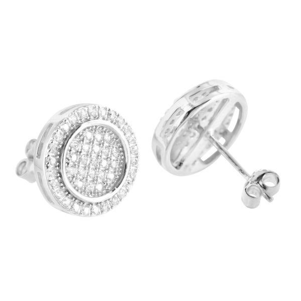 White Gold Finish Cubic Zircon Cluster Sterling Silver Earrings