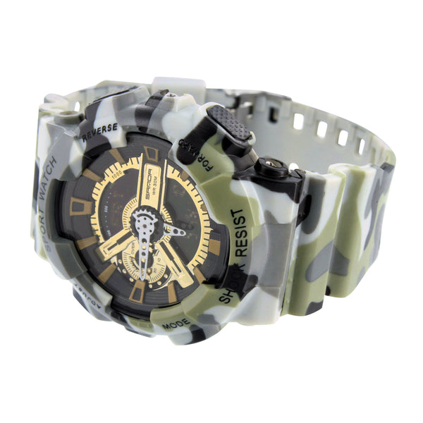 Mens Army Camouflage Watch Shock Resistant Green