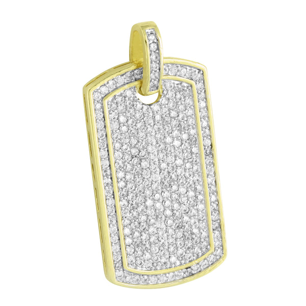 Mens Dog Tag Design Pendant Simulated Diamonds 14K Gold Finish Steel Necklace