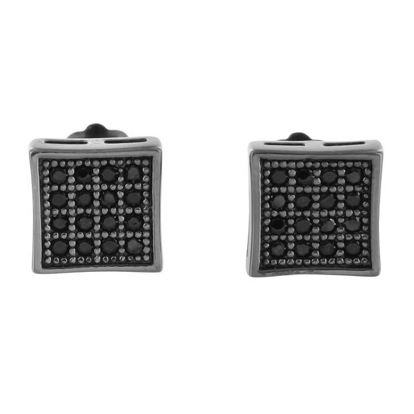 All Black Onyx Lab Diamond Kite Style Pave Kite Style Earrings in Silver