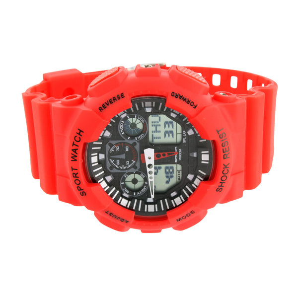 Red Shock Resistant Sports Watch Digital Analog Display