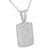 White Dog Tag Pendant Simulated Diamonds Iced Out Stainless Steel Chain