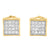 14k Yellow Gold Finish lab Diamond Kite Square 925 Silver Earrings