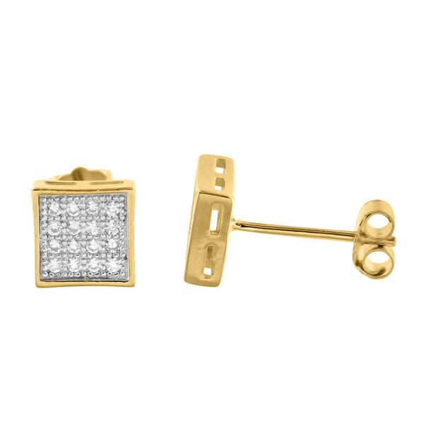 14k Gold Finish lab Diamond Kite Square Silver Earrings