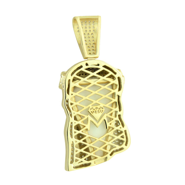 14k Gold Tone Jesus Pendant Lab Diamond Christ Face Charm